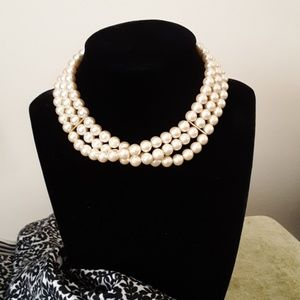 Multi strand pearl choker necklace